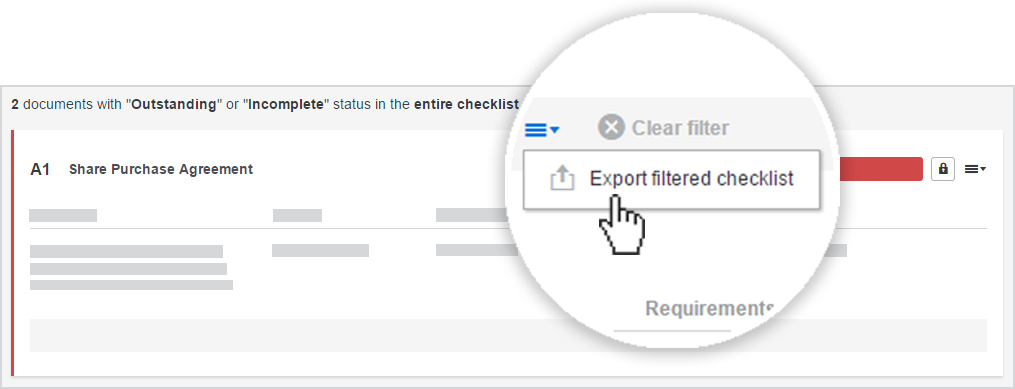 In Workshare Transact, you can export a checklist once you filter it.