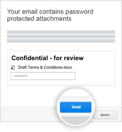 When you email a password-protected document, Protect Server will show you a dialog to confirm whether you