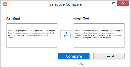 With Selective Compare, you can compare snippets of text copied from anywhere.