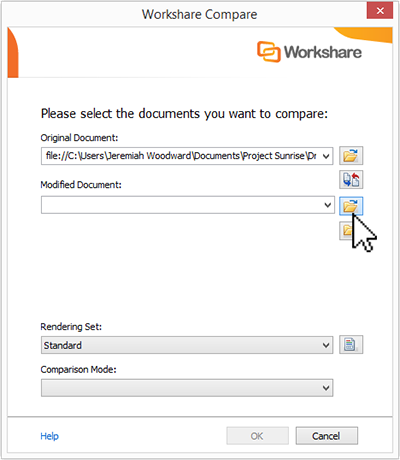 Click the file icon to the right of the Modified Document field.