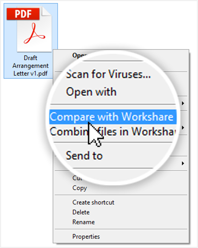 "Right-click a PDF and select ""Compare with Workshare"""
