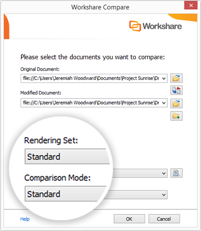 When you compare two PDFs, you can choose the rendering set and comparison mode.