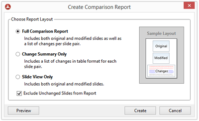 "When you click ""Create"", the Create Comparison Report dialog is displayed with options to choose what goes into the report."