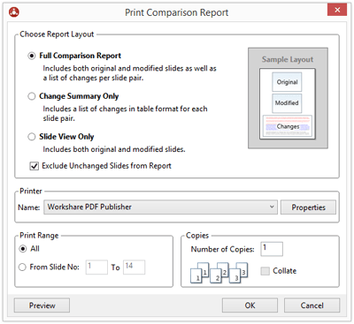 "When you click ""Print"", the Print Comparison Report dialog is displayed with options to choose what goes into the report."