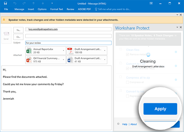 """Once you click """"Apply"""", your changes are processed. This image shows the Interactive Protect panel processing the cleaning options."""